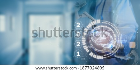 2021 medical futuristic technology trends concept, dotor holding diagnose virtual brain hud by using artifical intelligence, reserch and   analysis robotic fot protect patient from disease outbreak Stock fotó ©