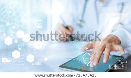 Medicine doctor hand touching computer interface as medical network connection with modern virtual screen, medical technology network concept