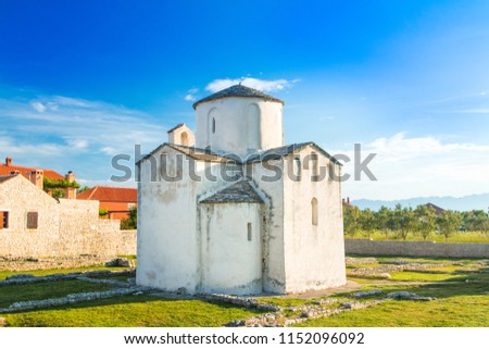 Medieval church of Holy Cross from 9th century and archaeological site in historic town of Nin, Dalmatia, Croatia  Stok fotoğraf ©