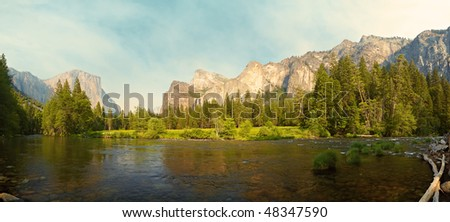 45 megapixel panorama of Merced River meadows, Yosemite Valley, Yosemite National Park, California, USA