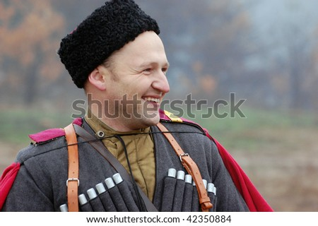 Member of a history club wears historical Soviet uniforms of WW2 - stock photo