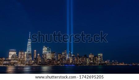9/11 memorial nyc skyline from NJ