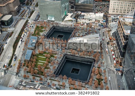 9/11 Memorial park, aerial view in Manhattan New York City