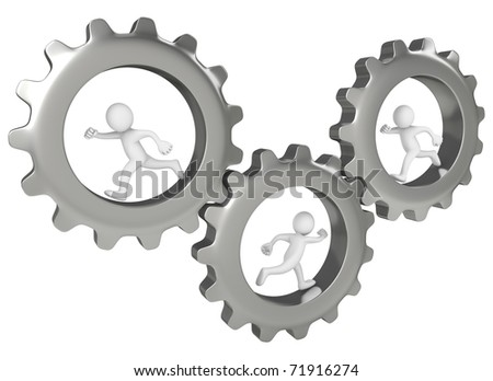 3 men running inside big gears