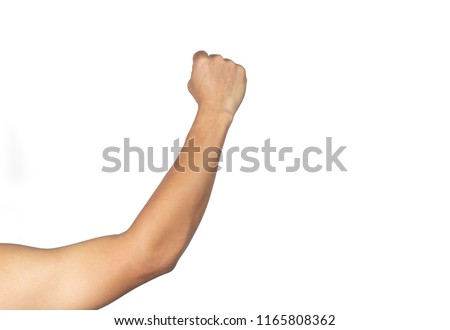 Men's arm holds a fist on a white background.