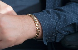 Men's gold bracelet. Special production with hollow gold