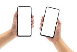 2 men's hands holding blank black-rimmed smartphones