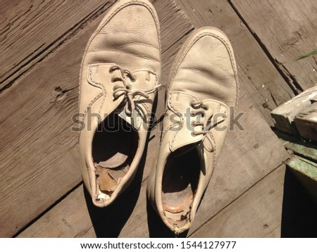 men's torn shoes, shabby shoes, torn shoes #1544127977