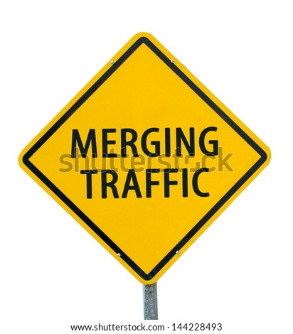 """MERGING TRAFFIC"" traffic sign isolated on white background"