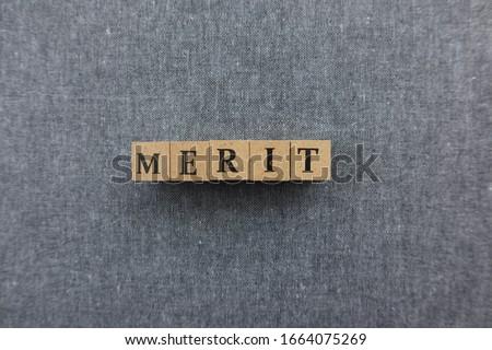 'MERIT' word made with wooden blocks Stockfoto ©