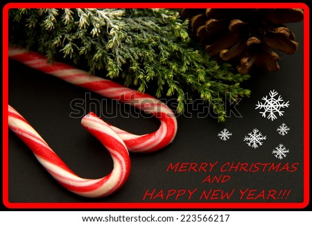 ,,Merry Christmas and Happy new year,,record,red letter on the black background,snowflakes,christmas tree,christmas rocks,pinecone