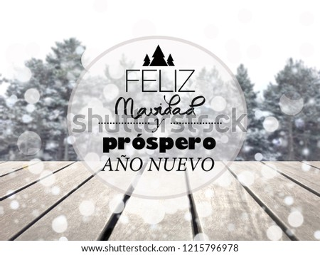 merry christmas and happy new year text in spanish trees snow and