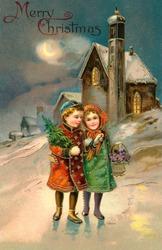 'Merry Christmas' - Children on a moon lit Christmas eve - a circa 1912 vintage greeting card illustration.