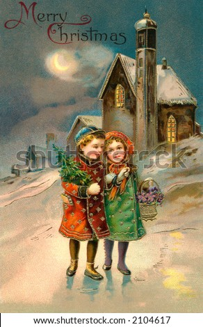 'Merry Christmas' - Children on a moon lit Christmas eve - a circa 1912 vintage greeting card illustration.