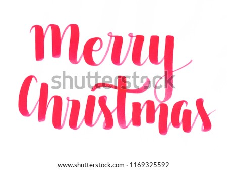 """Merry Christmas"" hand lettering seasonal inscription in red for a season of happiness and joy #1169325592"