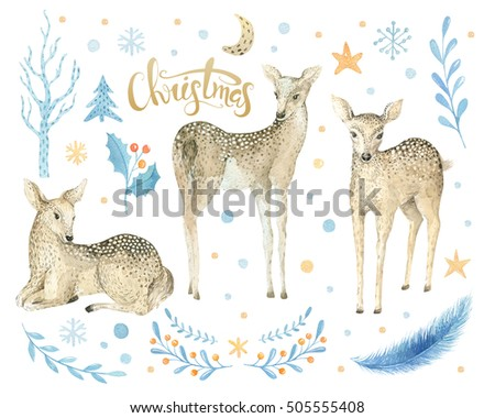 Merry Christmas watercolor lettering with watercolour fun baby deer.