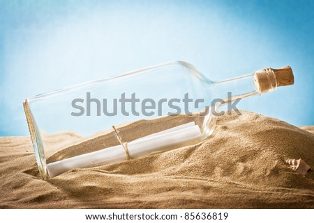 ,message in bottle on sand,
