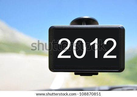 2012 message on the screen of a satellite navigation system