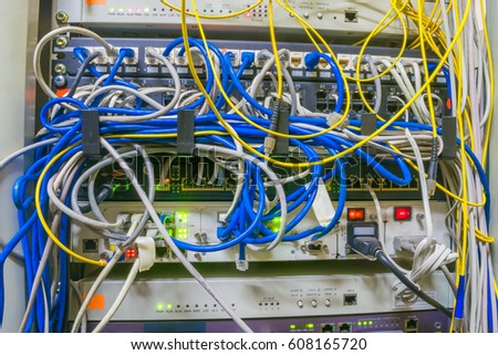 Magnificent Messy Wires Are In A Rack With Servers And Internet Equipment Ez Wiring 101 Mecadwellnesstrialsorg