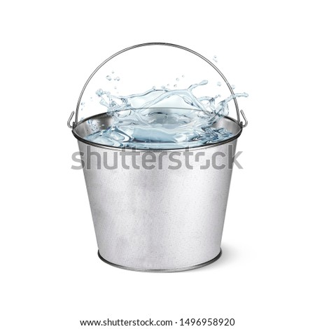 Metal pail full of water  ストックフォト ©