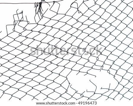 Metal wire fence protection isolated on white for background #49196473