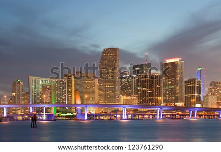 Miami Florida sunset over downtown illuminated business and luxury residential buildings, hotels and Biscayne Bay bridge.Night Cityscape of World famous travel location.