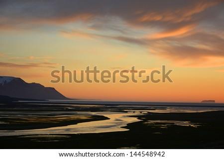 Midnight sunset  near saudarkrokur, Iceland