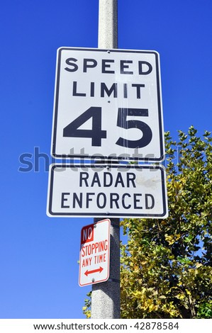 45 miles per hour sign, radar enforced