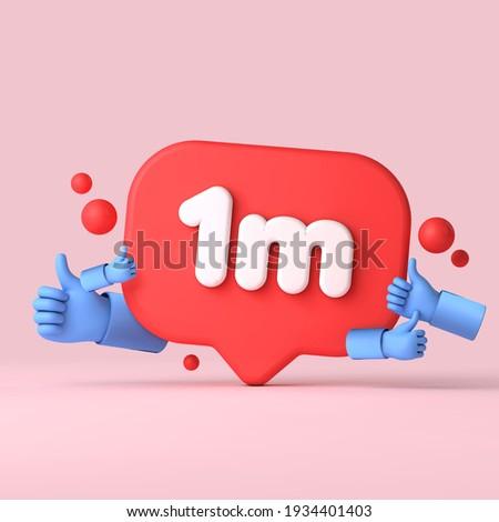1 Million followers social media banner thumbs up. 3D Rendering Stock fotó ©