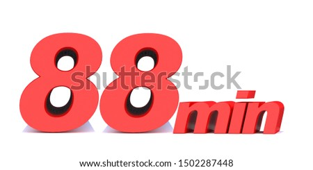 88 min. 88 minutes word on white background. 3d illustration
