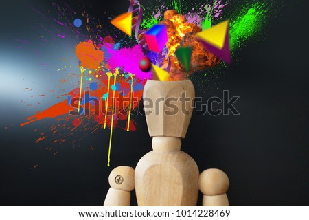 Mind blowing manikin with creative explosion splashes 3d objects DNA and more mind = blow feeling alive of an object                                #1014228469