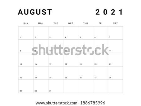 2021 Minimalist Black and White Calendar, Sunday Start Printable Calendar, Plain calendar, Monthly Planner, Calendar Landscape