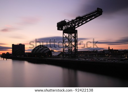 8 minute exposure of the Finnieston crane and surrounding landmarks including the Armadillo and Glasgow University in the distance