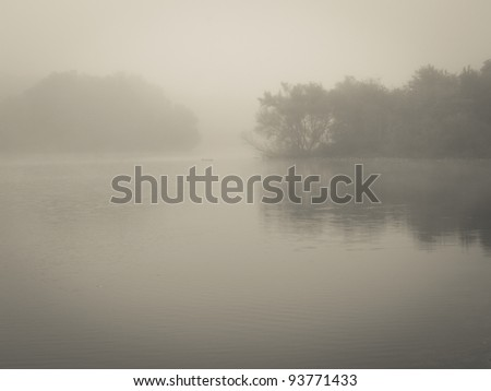 """Misty Morning Lake"" A thick early morning fog on this lake in Turkey Swamp Park, part of the Monmouth County Park system in New Jersey."