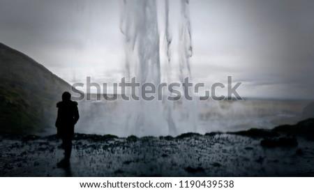 Misty Waterfall in Iceland #1190439538
