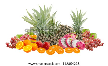 mix of fruits over white background