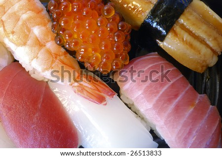 mixed traditional Japanese sushi set, close up shot