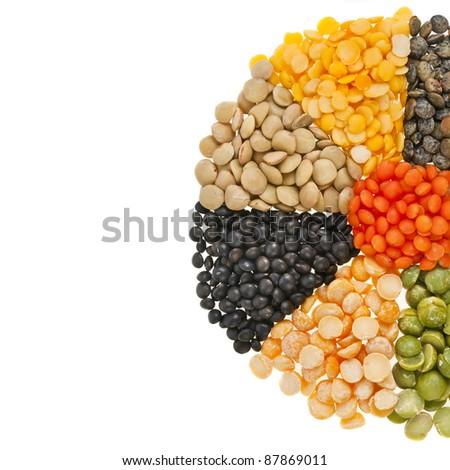 Mixture of dried lentils, peas, soybeans, legumes,beans - stock photo