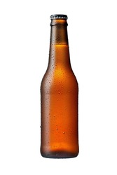 355ml brown beer bottle with drops isolated without shadow on a white background mockup with work path