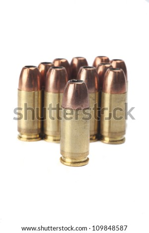 9mm ammunition in a bunch