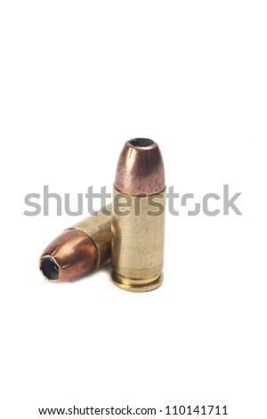 9mm ammunition on white background