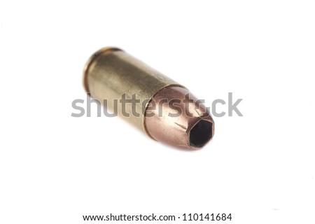 9mm bullet on white background
