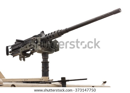 Stock Photo 50 mm caliber machine gun mounted on a military vehicle isolated on white background