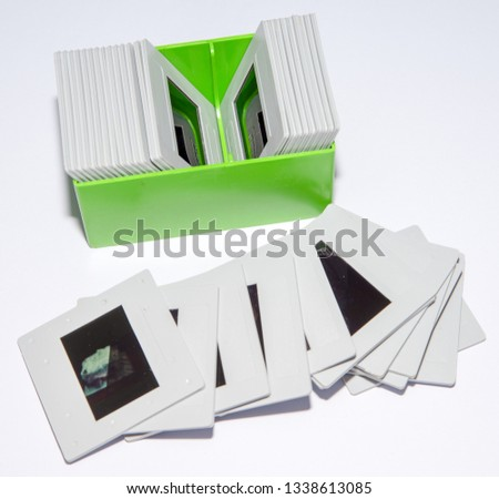 35mm color transparency slide film, mounted in white plastic mounts.  analogue vintage records of memories or hobbies going back to the 1960s & 1970s. Now obsolete, out of fashion with digital photos #1338613085