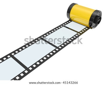 35mm empty film isolated on white background