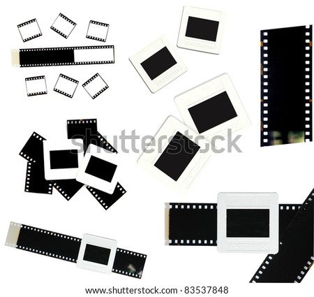 35mm film and slide frame isolated on white background
