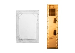 (35 mm.) film collections frame and old paper.With white space.film camera.