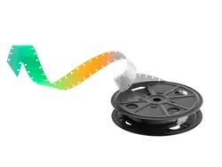 16mm film reel on white