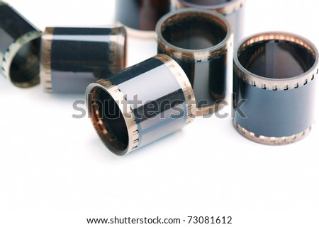 35mm film rolls isolated on white background.