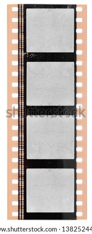 35mm filmstrip or movie frame with empty cells on white background and sound waves